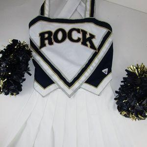 """ROCK Cheerleading Uniform +Poms 34"""" Top 25"""" Skirt"""